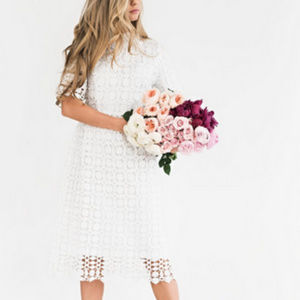 Romantic White Lace Midi Dress w/Collar